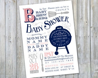 Bar B Que Vintage Baby Shower invitation