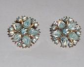 Blue Rhinestone CORO Earrings