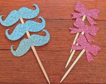 Bow and Mustache Cupcake Toppers -- Gender Reveal/ Gender Neutral Baby Shower