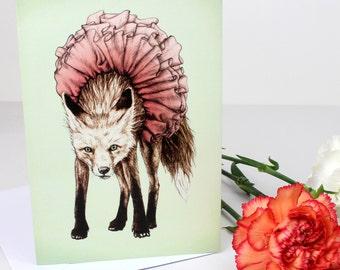 Reluctant Mr Fox & Tutu Greetings Card
