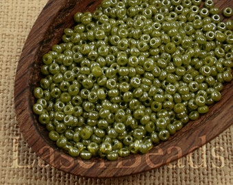 20g Seed beads 10/0 Opaque Olive Green Pearl Luster Seed Bead Rocailles NR 296 last Opaque seed beads Green seed beads