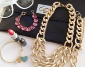 Larissa: Layered Multi Gold chain bib necklace & Free Bracelet to Match, Chunky Jewelry, Multi-chain Jewelry