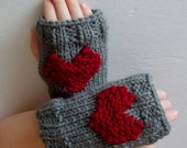 Knitted Valentine's Day Grey Fingerless Gloves/Wrist Warmers/Mittens With Red Hearts