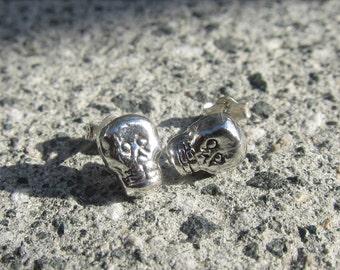 Day of the Dead Skull Earrings - Memento Mori - Sterling Silver