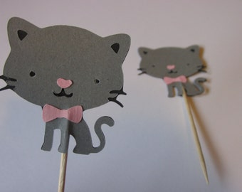 12 Kitty cupcake toppers, Cat food picks,  kitty cupcake toppers