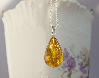 Sterling silver necklace with natural Baltic amber, yellow-green Baltic amber pendant, teardrop shape golden amber with inclusions