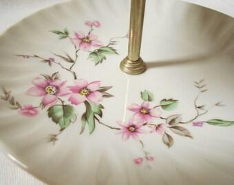 French Vintage Limoges Porcelain Pink floral Double Tidbit Tray / Platter (A975)