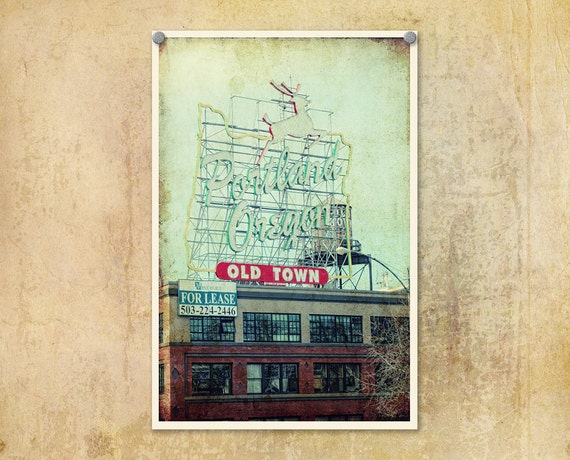 Portland Oregon Photo White Stag Sign Distressed Urban Lomography