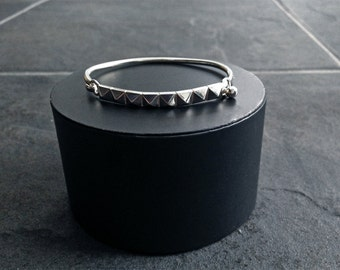 Sterling Silver Pyramid Studded Bangle Bracelet