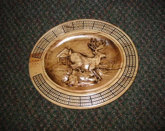 Deer by Cabin 3 track oval cribbage board with storage