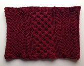 Warehouse Sale - Wool Honeycomb Cable Knit Cowl - Burgundy