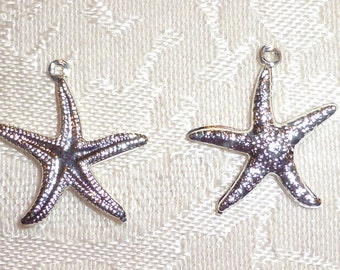 Silver Metal Double Sided Starfish Charms 20mm x 20mm -  Pack of 10