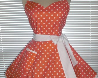 Sweetheart Retro Apron Coral White Polka Dots Designer Cotton Circular Flirty Skirt