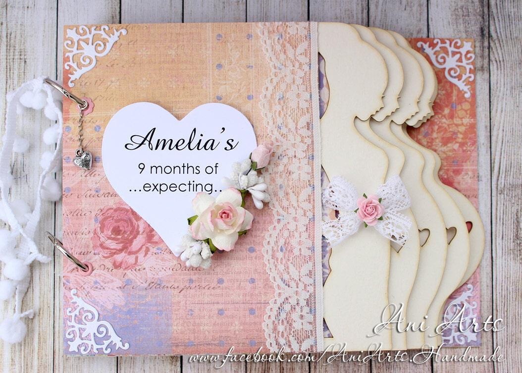 Scrapbook paper books - Personalized Pregnancy Journal Pregnancy Keepsake Album Expecting Mom Gift Mom To Be Memory Book Pregnancy Scrapbook Album