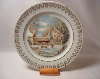 The Farmer's Home in Winter Plate Currier & Ives Winter Scenes Plate