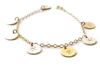 Personalized Bracelet - Gold or Silver Family ID Bracelet - Initial Bracelet - Disc Bracelet