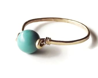Turquoise Hammered Gold Filled Ring - Gemstone Ring - Gold Ring - Stacking Rings - BIRTHSTONE ring