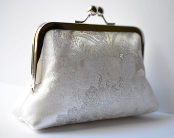 Small White Silver Bloom Bridal Clutch Purse : bridal purse, wedding accessory, bridesmaid gift