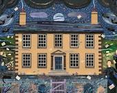 Bronte Sisters - Greeting Card - Haworth Parsonage Museum  - Yorkshire Moor - Moon - Writers' Houses - Graveyard - English Literature