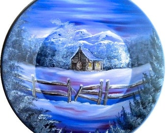 Hand Painted 11 Inch Gold Pans Mountain Winter Cabin and Fence