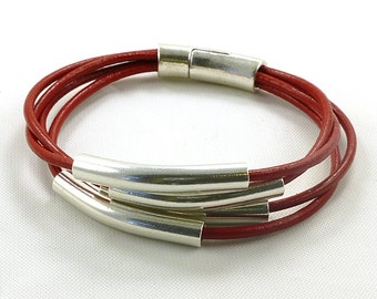Multi Strand Red Leather Cord Silver Tube Bracelet Highest Quality