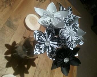 Black / Damask (Black on White) / Damask (White on Black) / Silver Mettallic Paper Flower Bouquet w/Gems &Green Stems