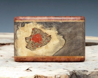 Exotic Wood, Brass & Coral Inlaid Belt Buckle - Handmade
