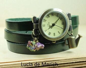 Gardener Wrap Watch - green forest girl style jewelry - gardener gift