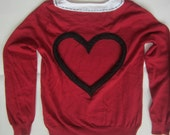 Size Small Heart Back Red Sweater with printed collar design  This OOAK is READY To SHIP Today!