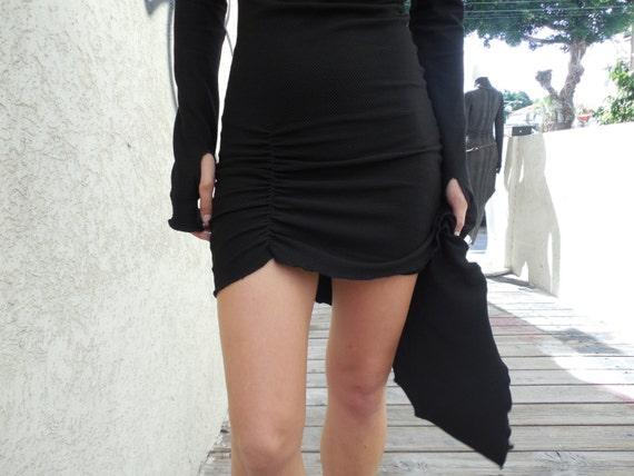 winter kleid schwarzes sexy kleid lang rmel kleid hoher kragen. Black Bedroom Furniture Sets. Home Design Ideas
