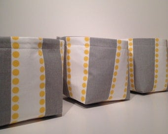 Mini Fabric Storage Basket Bin Organizer Storage Containers (Set of 3)-LuLu Stripe in Yellow, Gray, and White withSolid Light Gray Interior