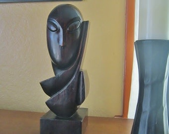 Wood Modernist Bust Carved Wood Sculpture Mid Century Modern Vintage Asian Modern Wood Bust Retro Carved Wood Sculpture