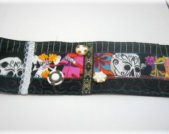 Day of the Dead Fabric Bracelet Cuff