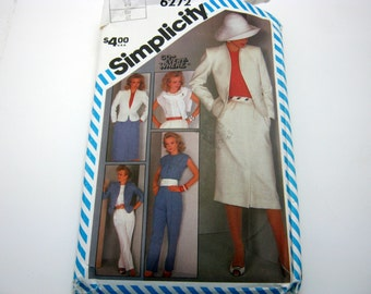 Simplicity 6272  Pattern Blouse, Skirt , Pant and Jacket Pattern Size 14 1983 Vintage