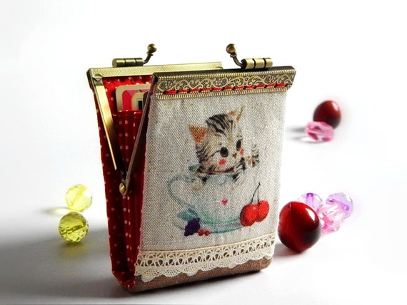 Business card holder / Credit card case / Credit card organizer / Fold card case / Cat hand dyed