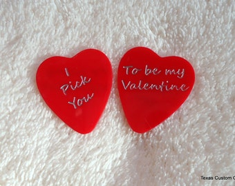 VALENTINE Pick Heart Shaped Pick Personalized Custom Engraved Guitar Pick/Plectrum, Personalized Pick, Engraved Pick, Valentine's Day