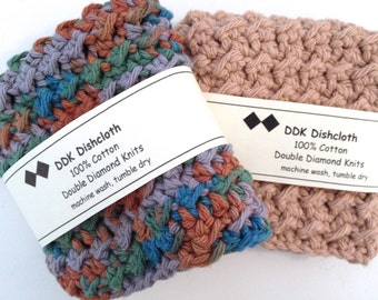 Dishcloths or Washcloths, set of 2, 100% cotton 'Mountain Sunset' Crochet
