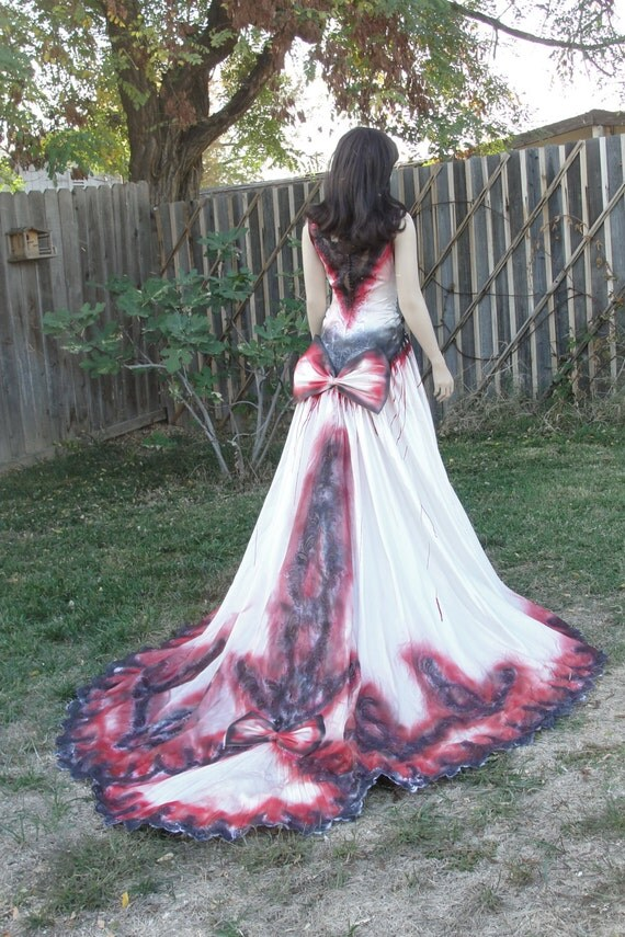 Size 7 Hand Painted Skeleton Wedding Dress Dia De Los Muertos