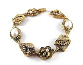 Charm Bracelet Royal Crown Bees and Flowers Victorian Revival Style Signed ART
