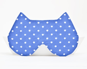 Sleep Mask, Cat Lover Gift, Vacation Accessories, kitty eye mask, Blue Underwear, slumber party, Dotted Valentines Day Gift for Her