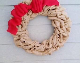 Burlap Wreath With Large Burlap Bow - XX -Large 32  inch - Tan Burlap Wreath