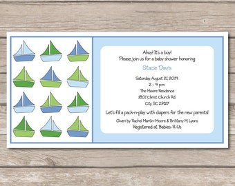 Boy Baby Shower Invitation Sailboat Expecting Pregnant Party Digital File Print Printable