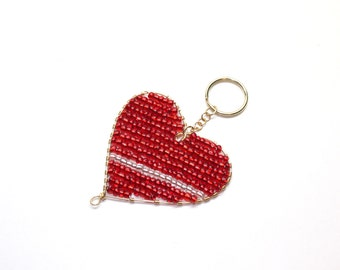 Wire beaded heart keychain in red and white, with gold tone wire and seed beads, valentine accessories