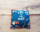 Fabric Cat in the hat Pillow with rattle inside, baby toy, rattle,fabric pillow   ready to ship