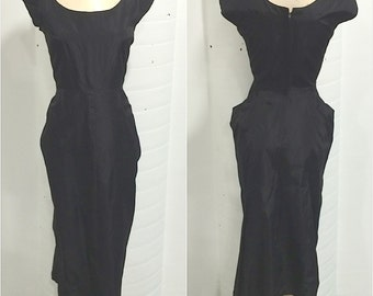1940s Black Taffeta Wiggle Dress