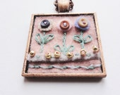 Hand made Felt and Embroidered Pendant Necklace. SALE