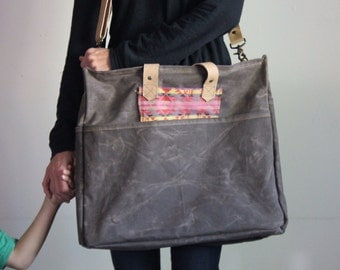 Waxed Canvas Diaper Bag Walnut
