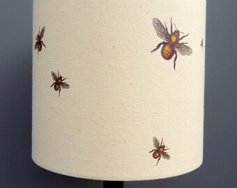 Bees 20cm 30cm drum hand printed lamp shade