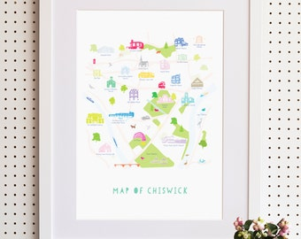 Map of Chiswick, South West London Print
