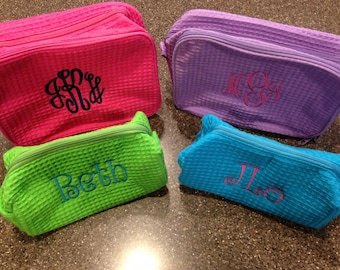 Personalized Monogrammed Waffle Weave Cosmetic Bag Set--One large and one small